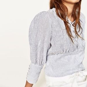 Zara Striped Shirt With Cord